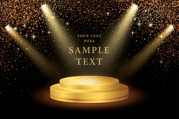 Spotlight on stage and gold glitter vector Premium Vector