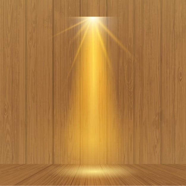 Spotlight on wooden wall Free Vector