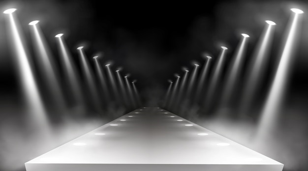 스포트라이트 배경, 빛나는 무대 조명, 레드 카펫 상 또는 갈라 콘서트를위한 흰색 광선. 프레 젠 테이 션에 대 한 빈 조명 방법, 쇼 연기와 램프 광선 활주로, 현실적인 3d 벡터 무료 벡터