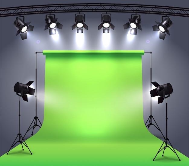 전문적인 스폿 조명으로 둘러싸인 사진 촬영 스튜디오 환경 크로마 키 사이클로 라마로 사실적인 구성 무료 벡터