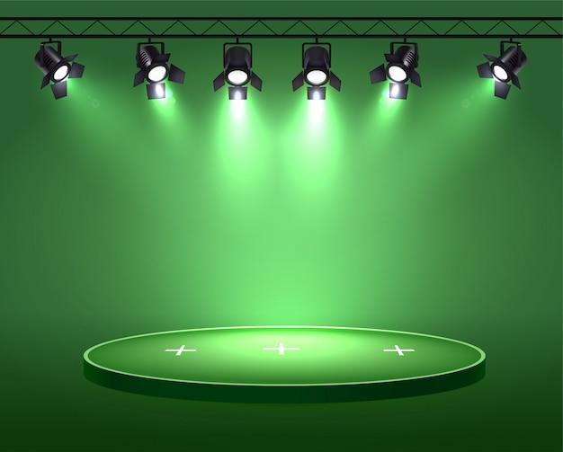Прожекторы реалистичной композиции с набором из шести прожекторов, висящих на барабане над круговым сюжетом Бесплатные векторы