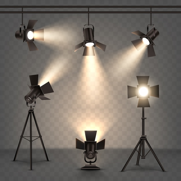Spotlights realistic illustration with warm light Free Vector