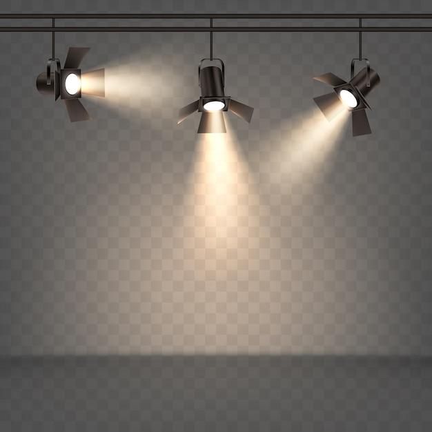 Spotlights realistic illustration with warm light Free Vector
