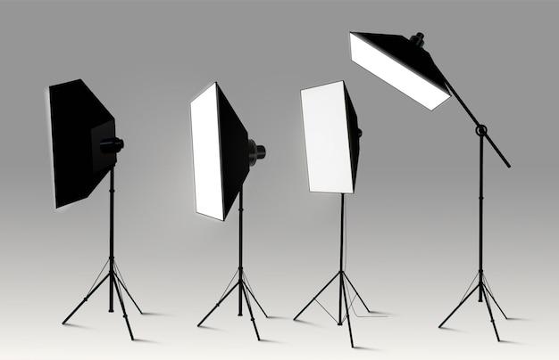 ショーコンテストやインタビューのイラストの現実的な透明な背景をスポットライトします。 Premiumベクター