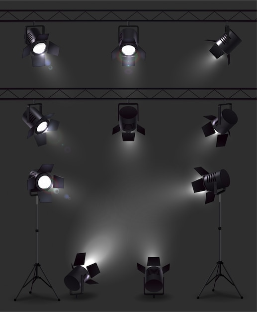 Spotlights set of realistic images with glowing spot lights from different angles with stands and reels Free Vector