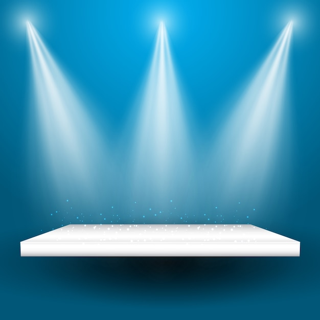 spotlights shining down onto an empty display shelf vector free