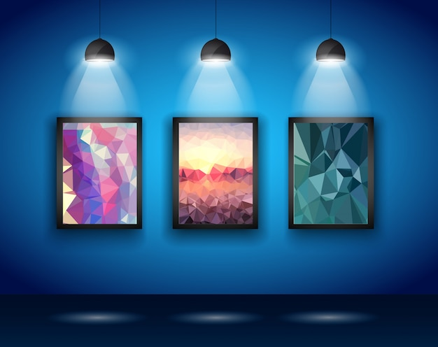 Spotlights wall with low poly arts Premium Vector