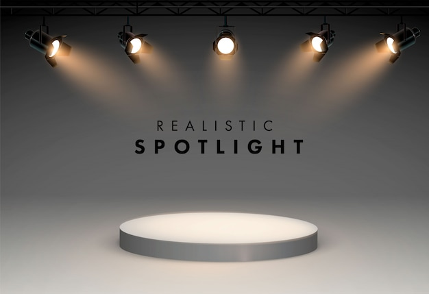Spotlights with bright white light shining stage vector set. illustration of projector for studio Premium Vector