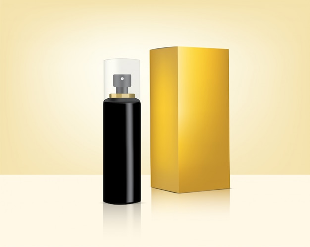 Spray bottle mock up realistic gold cosmetic and box for skincare Premium Vector