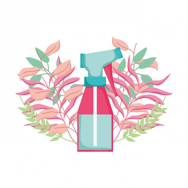 Spray bottle with floral decoration Premium Vector