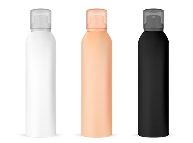 Spray mockup bottle. aluminum freshener container Premium Vector