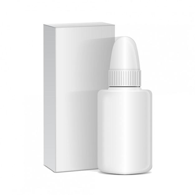 Спрей для носа или глаз антисептические препараты. белая пластиковая бутылка с коробкой. простуда, аллергия. реалистический Premium векторы