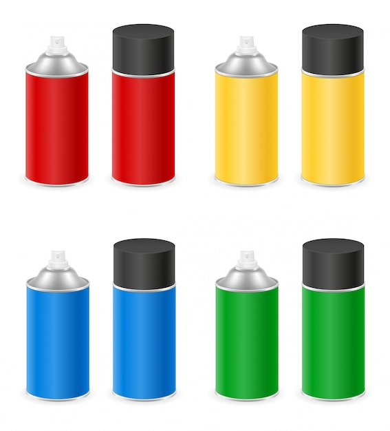 Spray paint in a metal can container set Premium Vector
