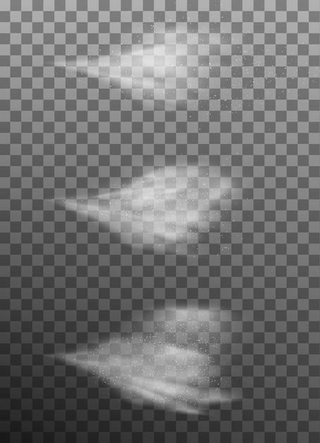 Sprayer fog isolated on dark transparent background. Premium Vector