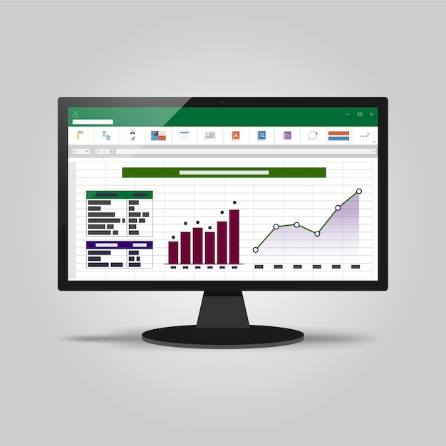 Spreadsheet on computer screen. financial accounting report concept. Premium Vector