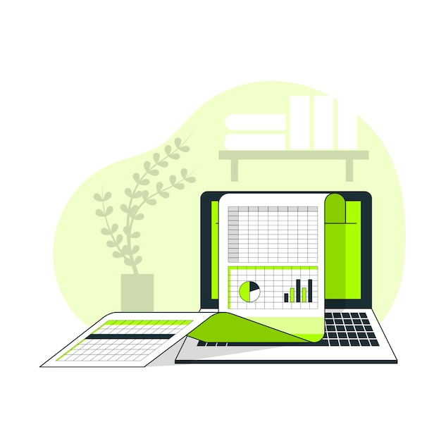 Spreadsheets concept illustration Free Vector