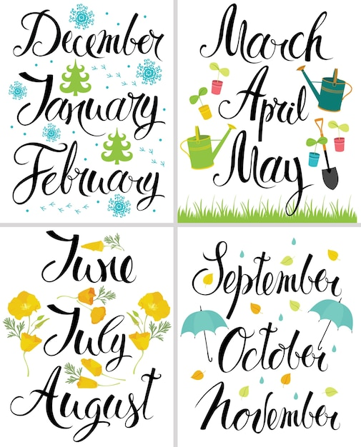 spring autumn winter summer month of the year calligraphy