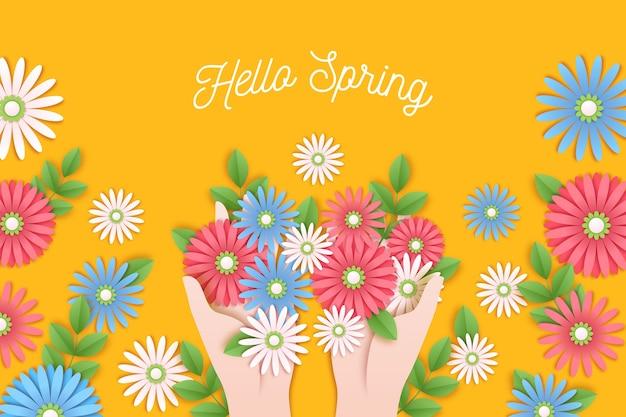 Sfondo primavera in stile carta colorata Vettore gratuito