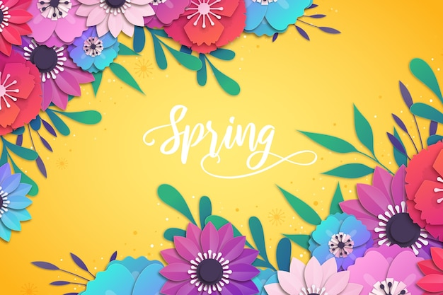 Spring background in colorful paper style Premium Vector