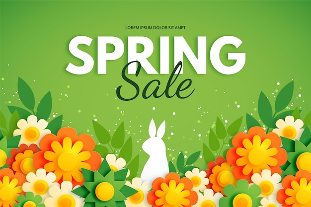 Spring background in colourful paper style with rabbit and flowers Premium Vector
