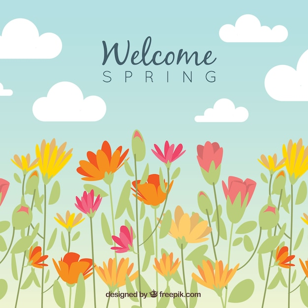 Spring background design with flowers Free Vector