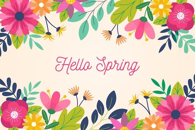 Spring background in flat design Premium Vector