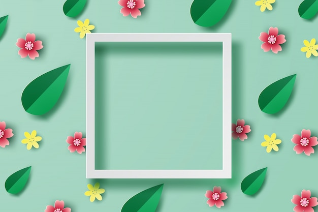 Spring background frame place for text Premium Vector