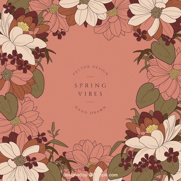 Spring background in vintage style  Free Vector