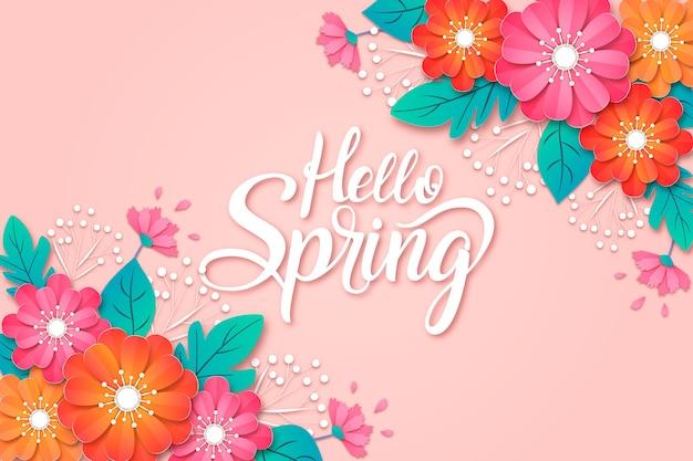 Sfondo di primavera in stile carta Vettore gratuito