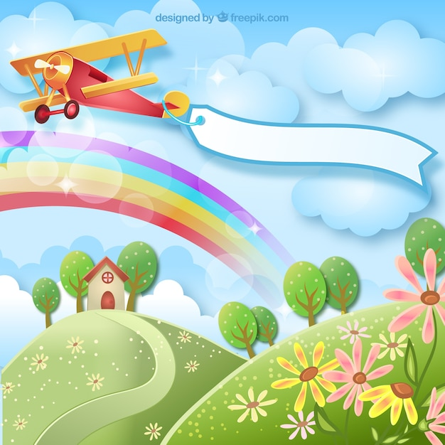 Spring background with a plane Free Vector