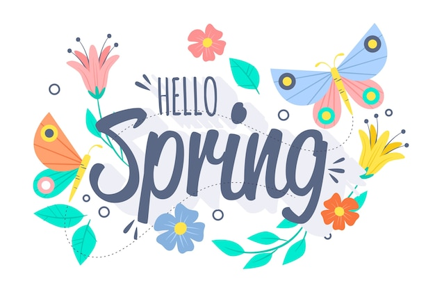 Spring background with butterflies and birds Free Vector