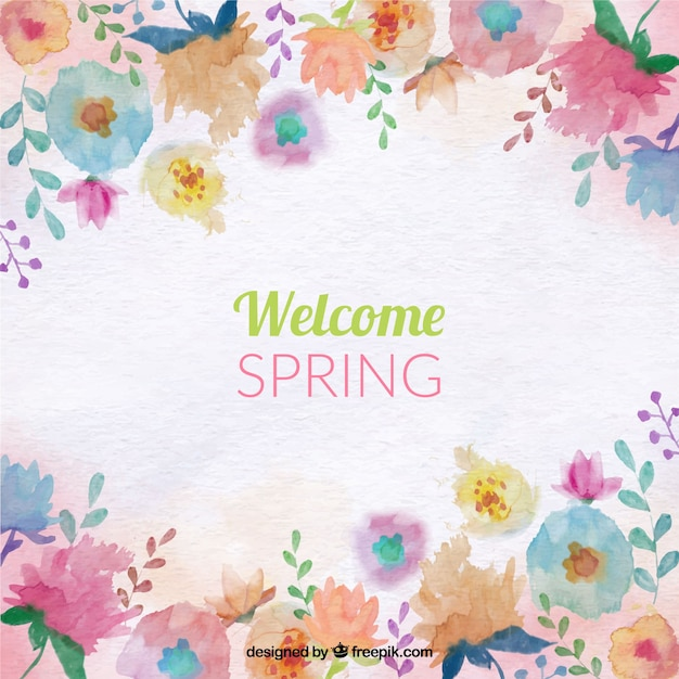 Spring background with colored watercolor flowers Free Vector