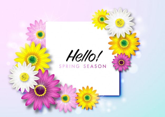 Spring background with colorful daisy flower blossom Premium Vector
