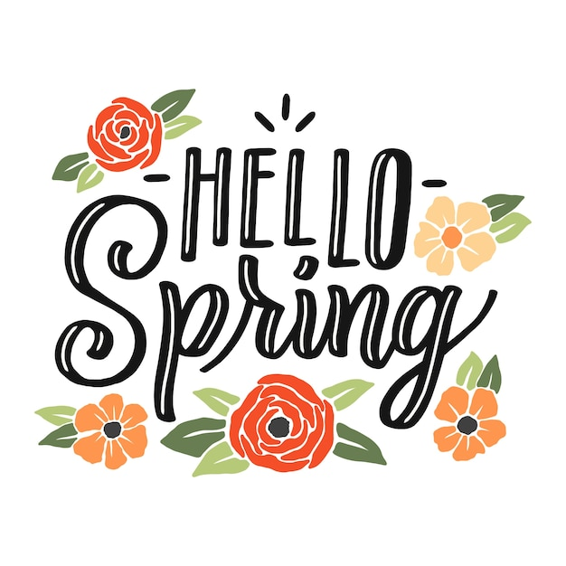 Spring background with colorful flowers and leaves Free Vector