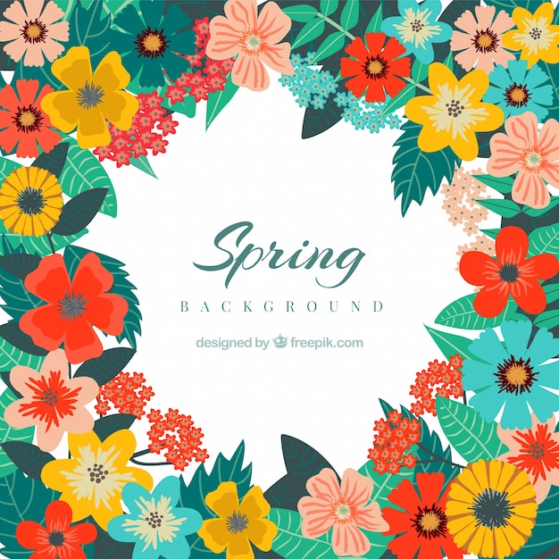 spring background with cute colored flowers vector free