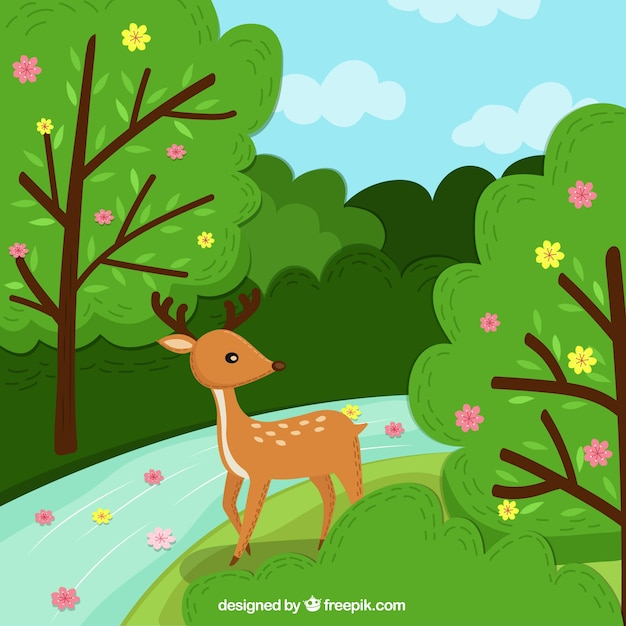 Spring background with deer Free Vector