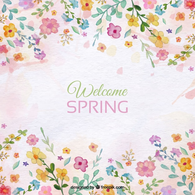 Spring background with floral watercolor details Free Vector