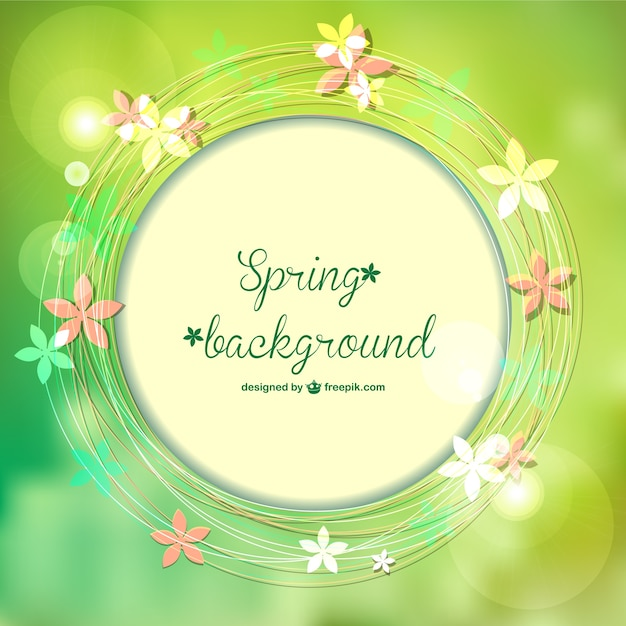 Spring background with flowers and bokeh\ effect