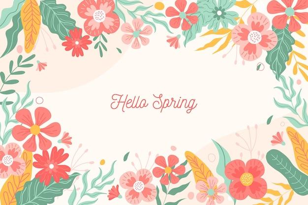 花と春の背景 無料ベクター