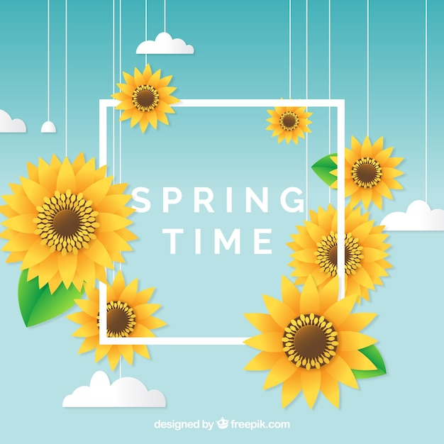 Spring background with frame concept Free Vector