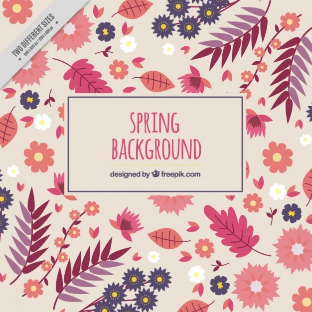 Spring background with hand drawn leaves and\ flowers in pink tones