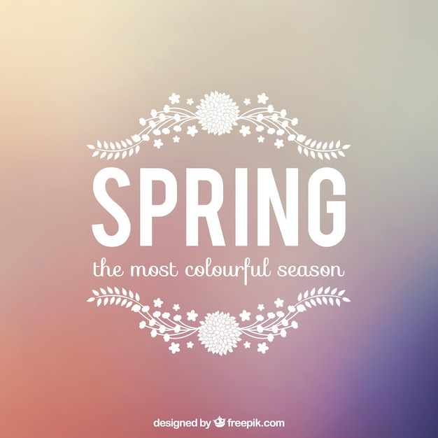 Spring background with lettering Free Vector