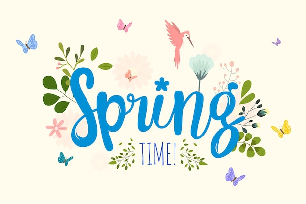 Spring background with lettering Premium Vector