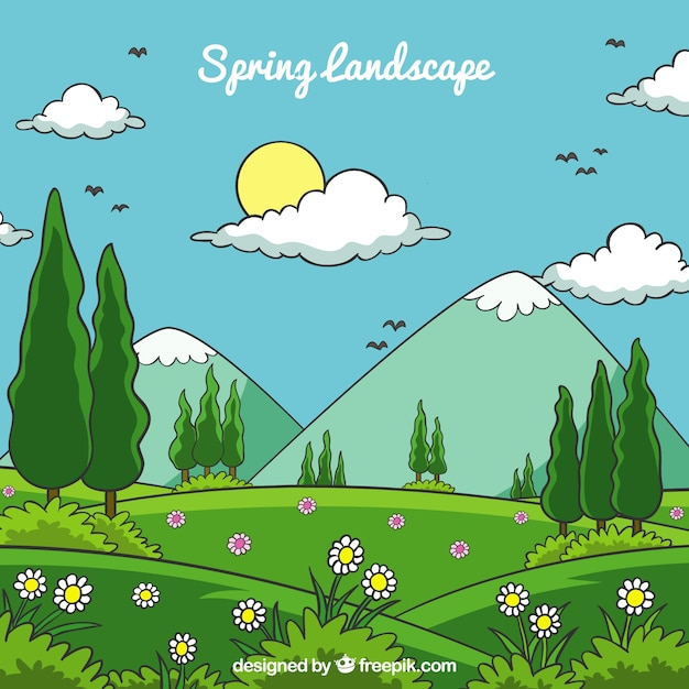 Spring background with mountains Free Vector