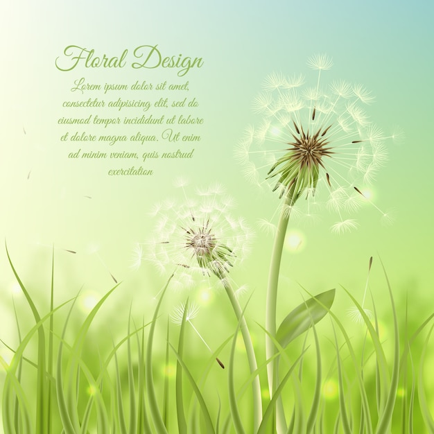 Spring background with shiny shapes Premium Vector