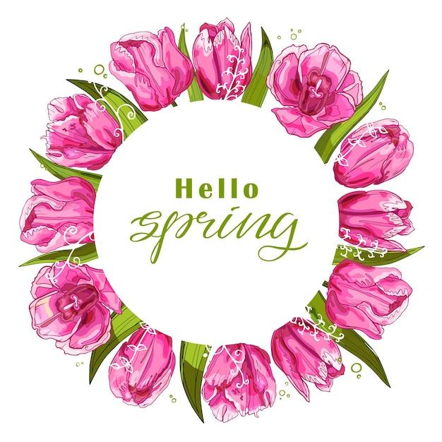 Весенний фон с тюльпанами иллюстрации Premium векторы