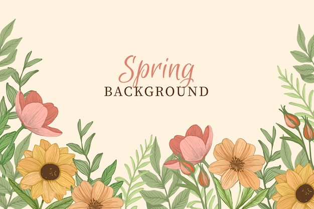 Spring background with vintage flowers Free Vector
