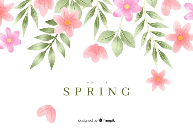Spring background with watercolor flowers and leaves Free Vector