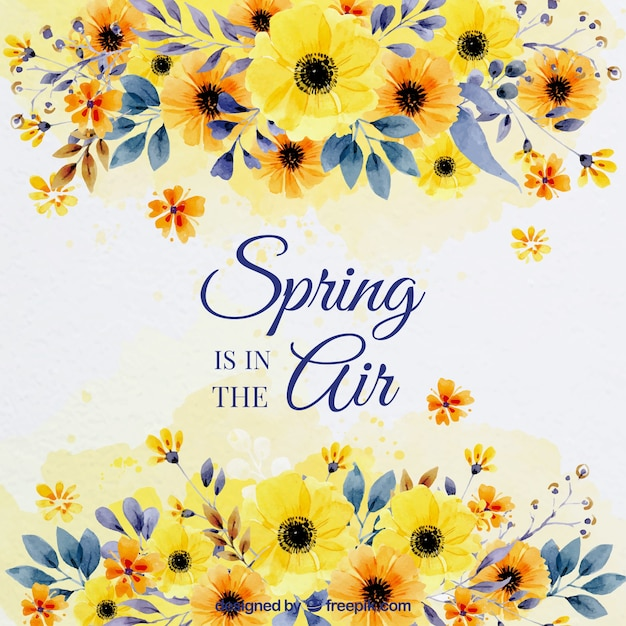 Spring background with watercolor flowers Free Vector