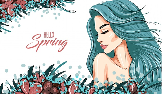 Spring background with woman blue hair girl Premium Vector